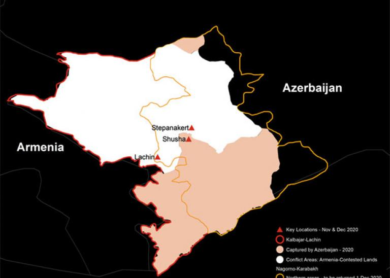 Post conflict Map of Nagorno Karabahk Territory